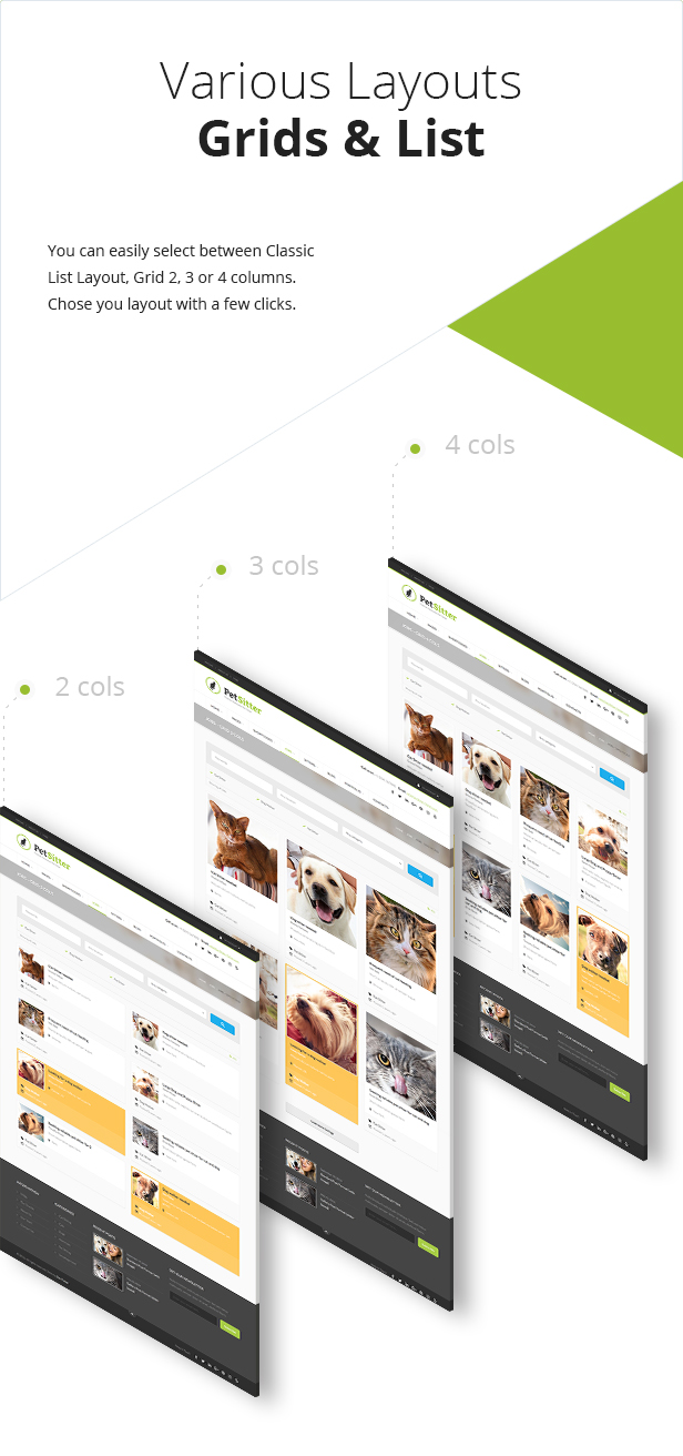 List and Grid view - Pet Sitter WordPress Theme Responsive