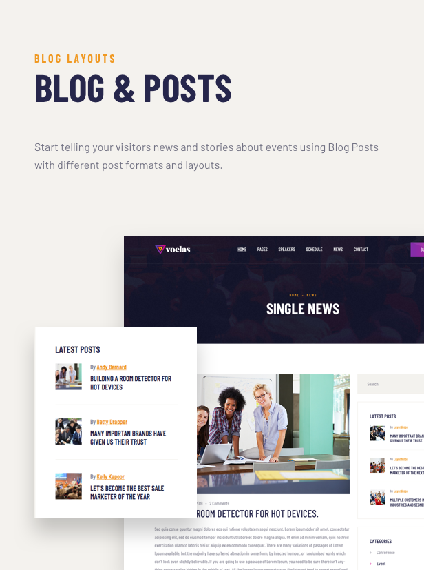 Voelas WordPress Theme - Blog Features