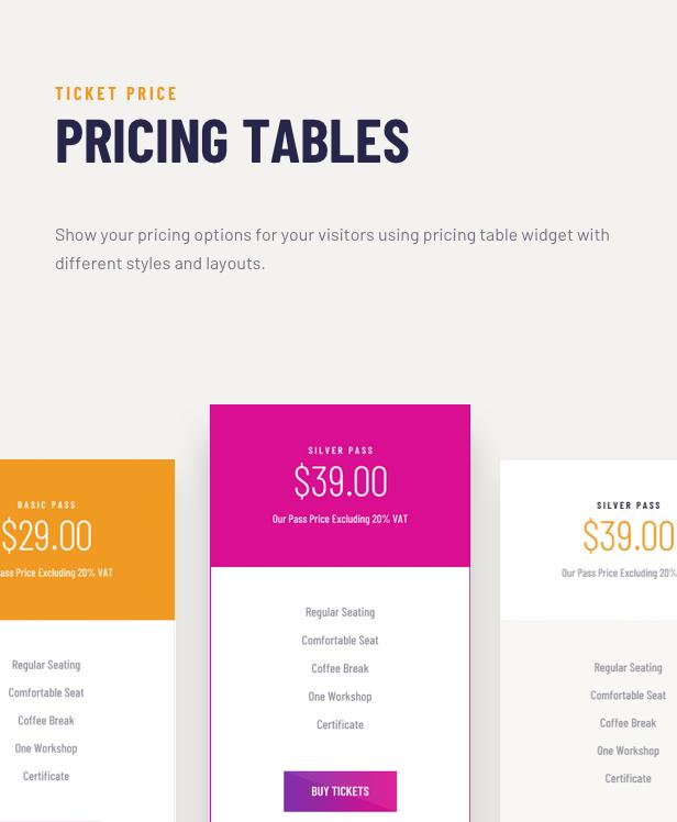Voelas WordPress Theme - Pricing Tables